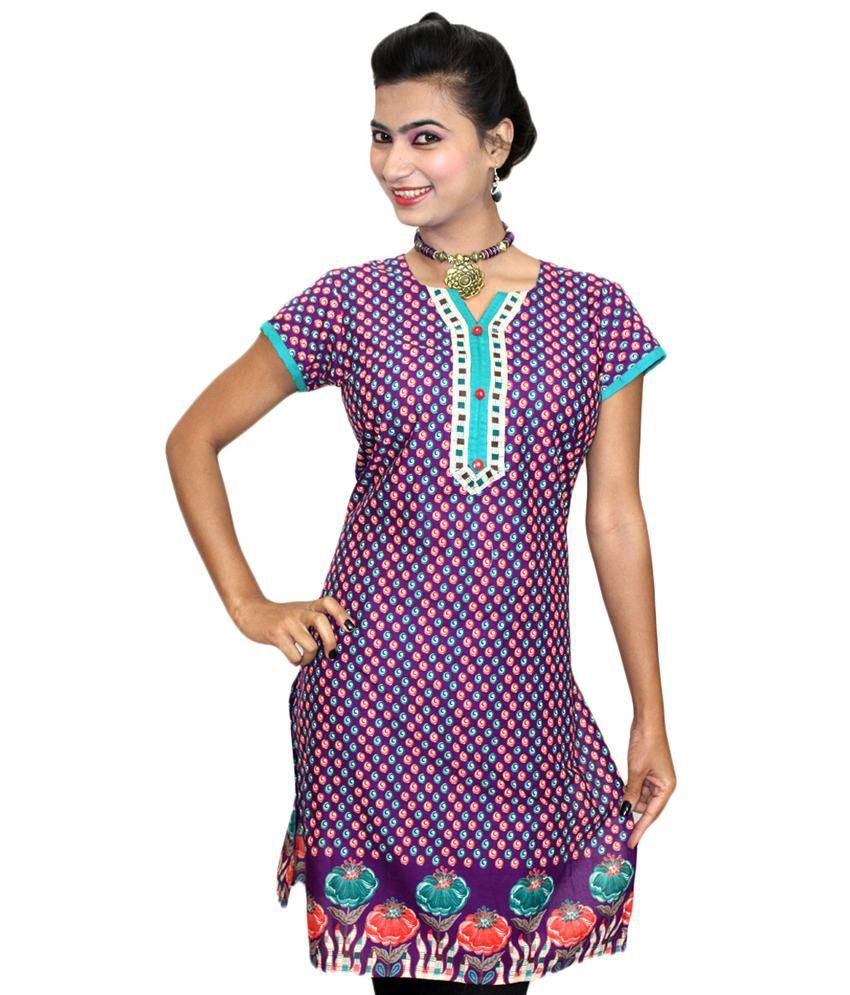 Dee Designer Women Awesoem Blue Printed Cotton Kurti