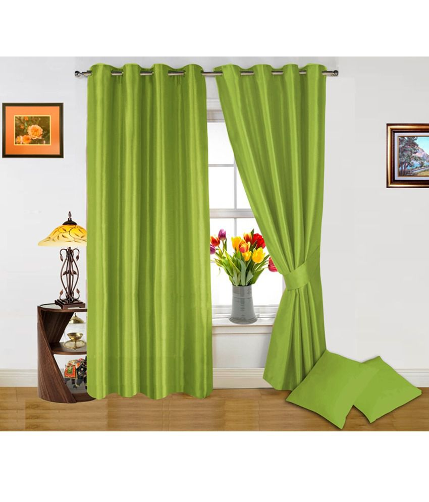 Good Dekor World Light Green Curtain And Cushion Covers Combo (4 Pcs) Solid Green  ...
