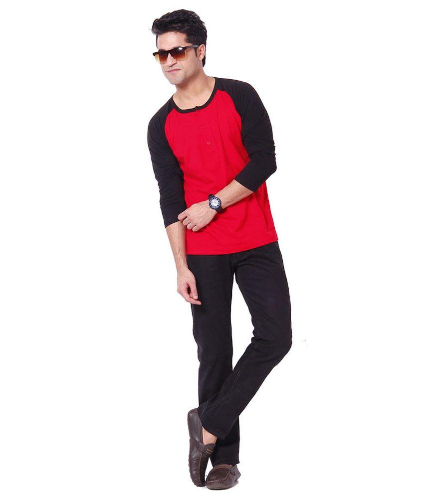 Leana Black-Red Henley Tshirts