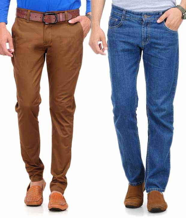Phoenix Combo of Blue Jeansand Brown Chinos