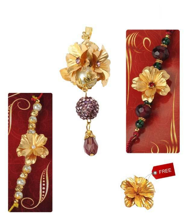 Aarya24kt Gold Foil Rakhi and Flower Pendant Combo With Free Brooch