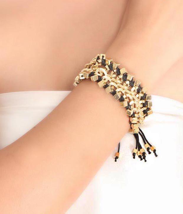 BVRL Black & Gold Brass Bracelet