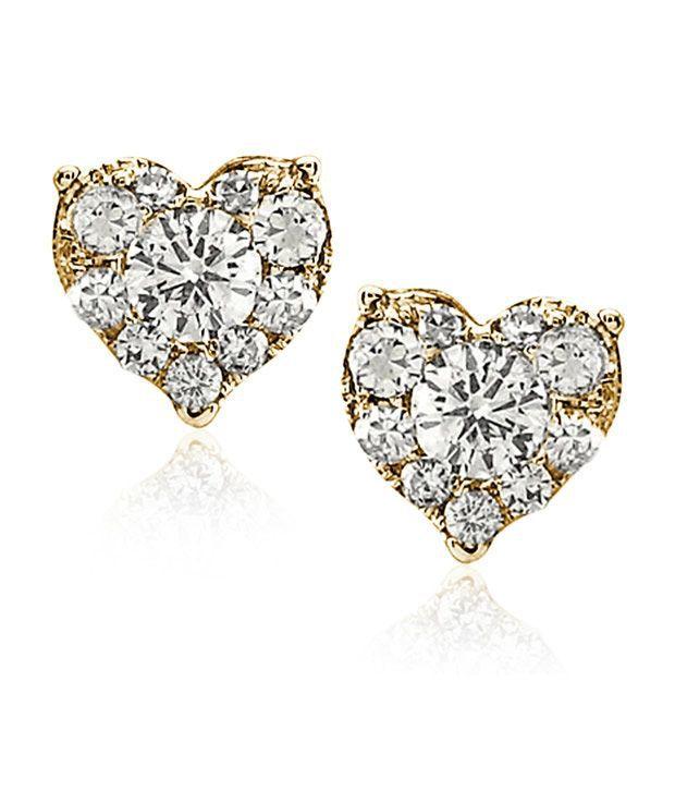 Diamondere Enchanting Heart Diamond Gold Studs
