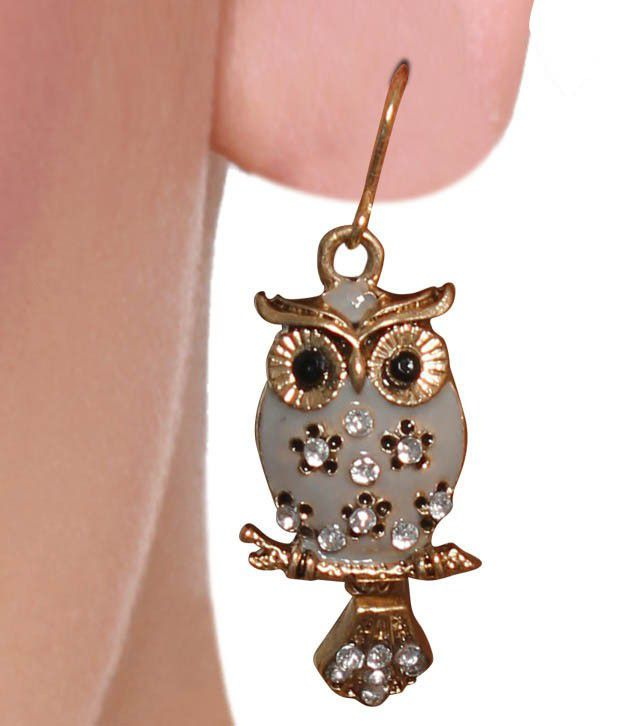 Diva Golden Tint Owl Earrings