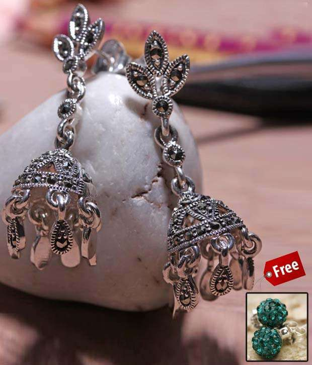 Erato Antique Oxidized Silver Earrings With Free Online In India On Snapdeal
