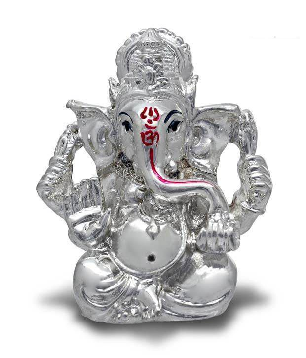 Ilina Exclusive Silver Plated Holy Ganesha Idol