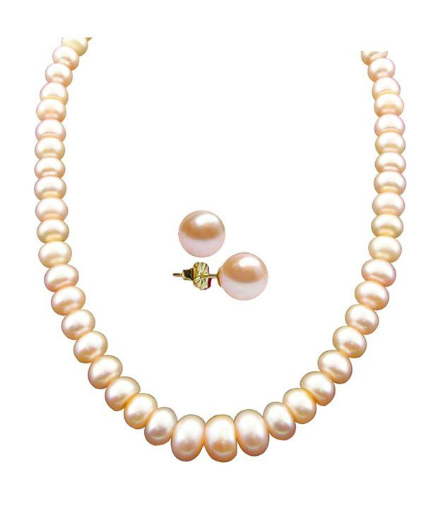 Sri Jagdamba Pearls New Single Line Peach Pearl Necklace