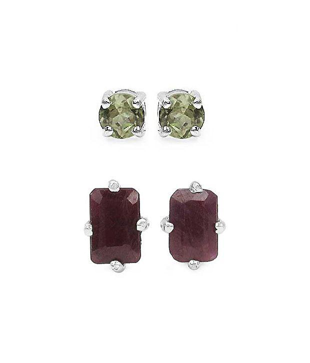 Johareez Ruby & Tourmaline Silver Earrings Combo