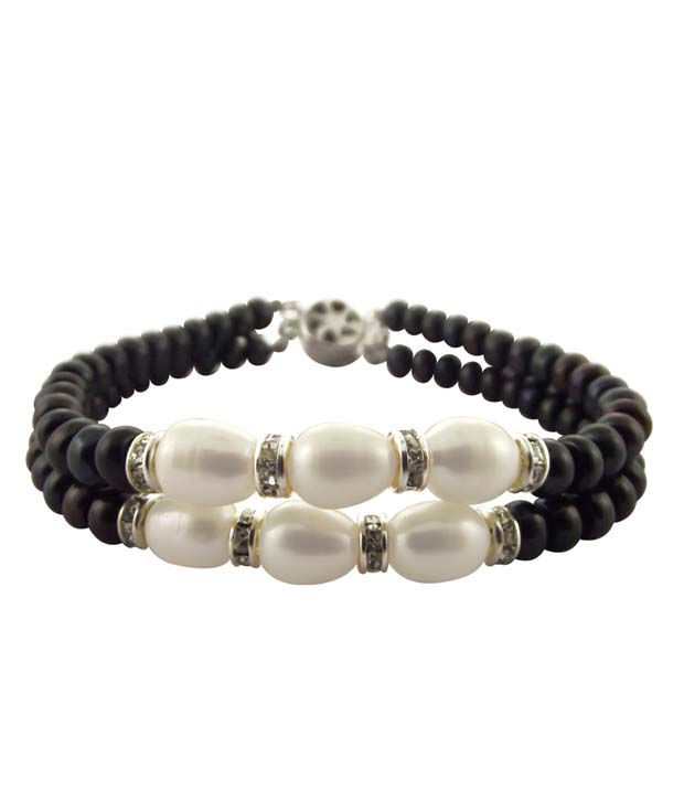 Sri Jagdamba Pearls 2 String Black & White Pearl Bracelet