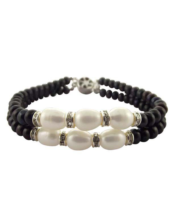 Jpearls Jpearls 2 String Black & White Pearl Bracelet