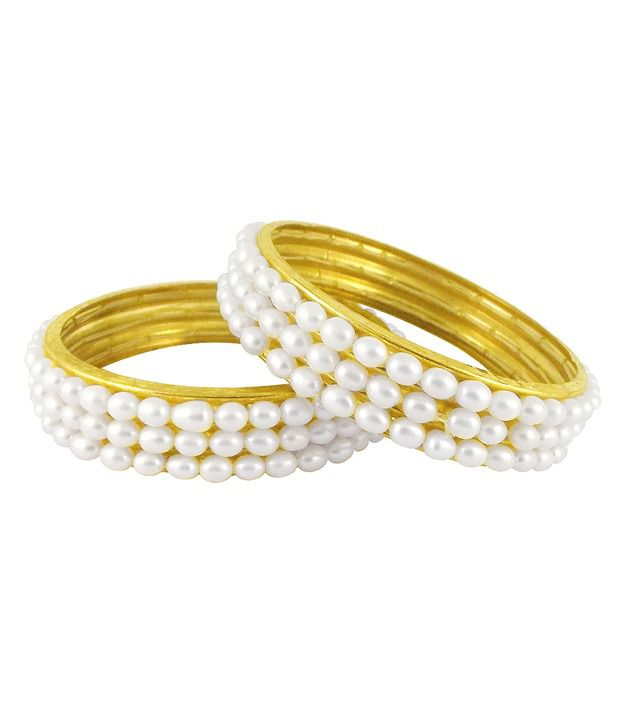Sri Jagdamba Pearls Elegant Three Line Pearl Bangle Pair