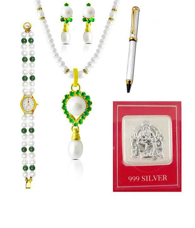 Sri Jagdamba Pearls Precious Pearl & Silver Couple Hamper