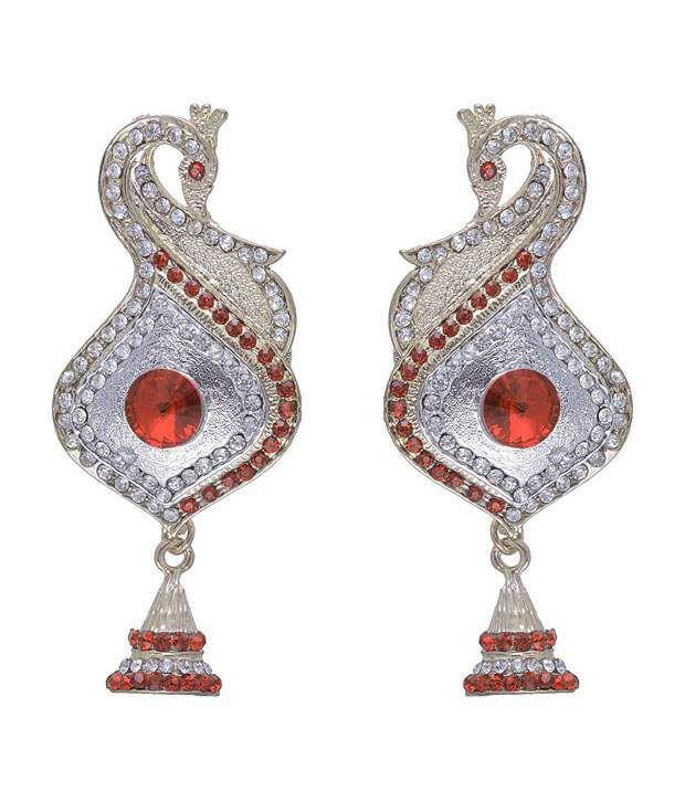 Kriaa Peacock Design Red Earrings