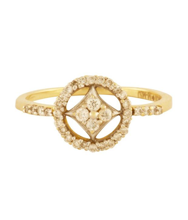 Mehrasons Diamond & 18Kt Yellow Gold Swanky Ring