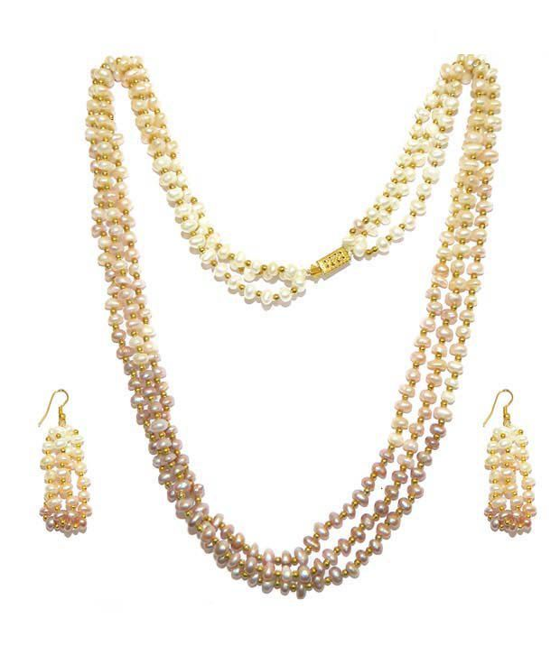 Niharikaa Pearls Three Line Pearl Necklace Set