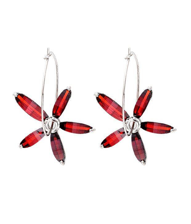 Opaleena Red Garnet Crystal Earrings