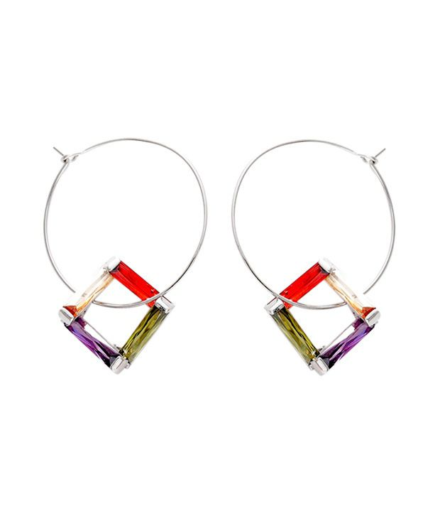 Opaleena Vivid Crystal Hoop Earrings