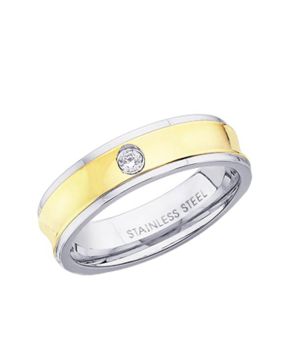 Peora Golden & Silver Stainless  Steel Ring