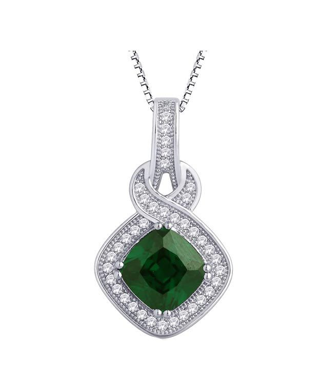 Peora Green Cz Sterling Silver Pendant