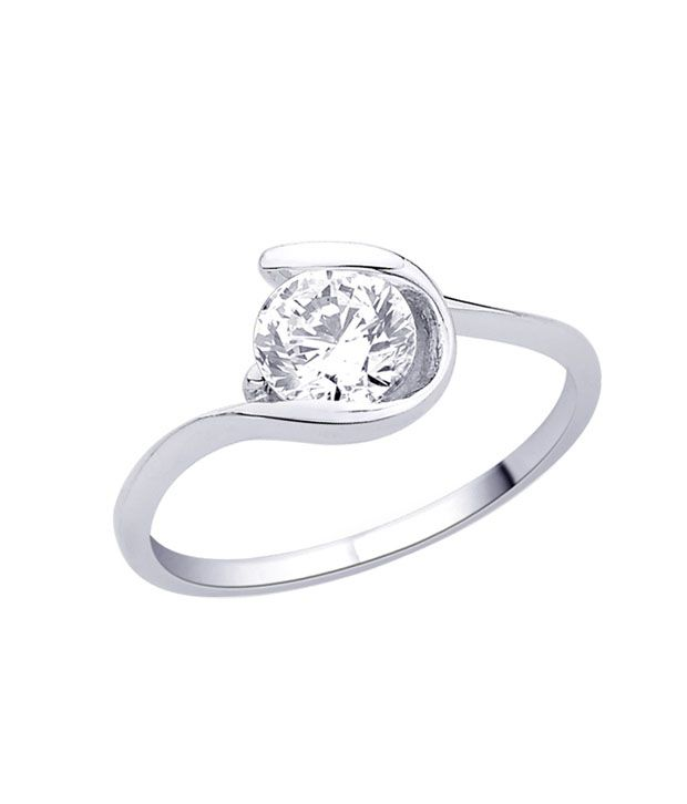 Pretty Solitaire 92.5 Silver Ring