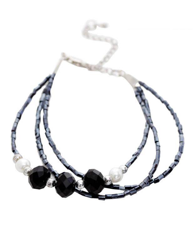 Pretty Woman Black Beads & Crystal Bracelet