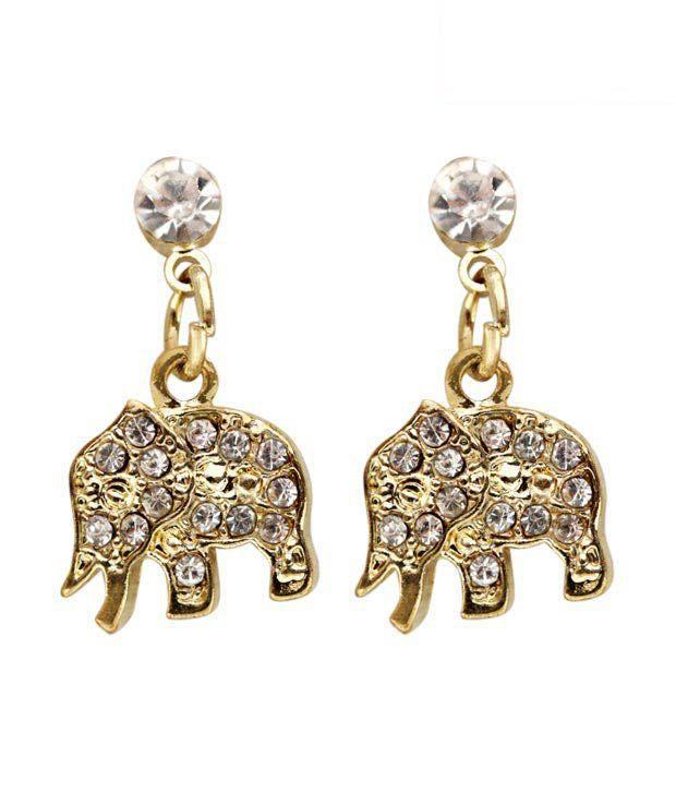Pretty Woman CZ Studded Elephant Earrings
