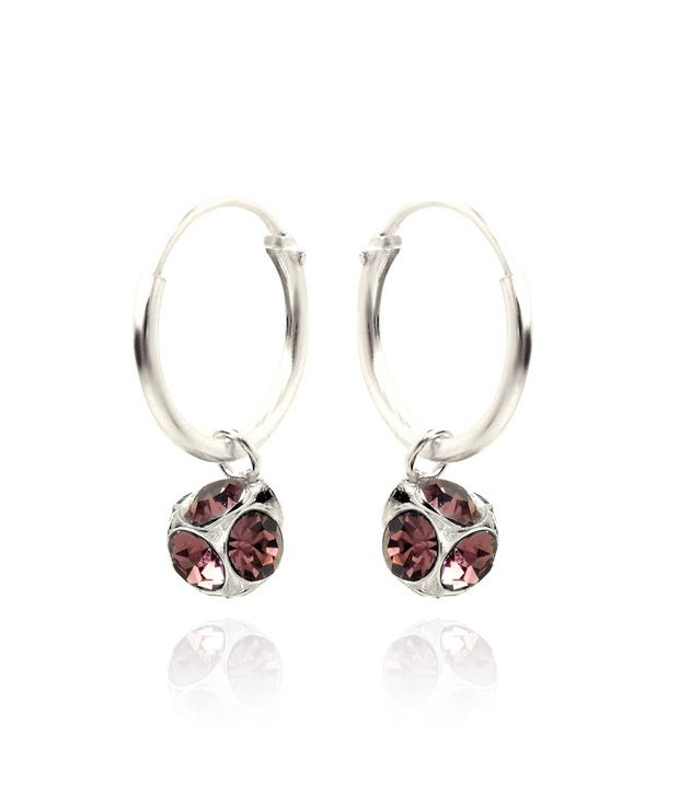 Revlis Burgundy Crystal Bali Style Earrings
