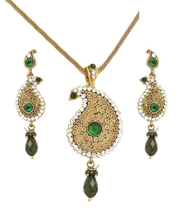 Sharnam Arts Emerald Green & Golden Paisley Necklace Set