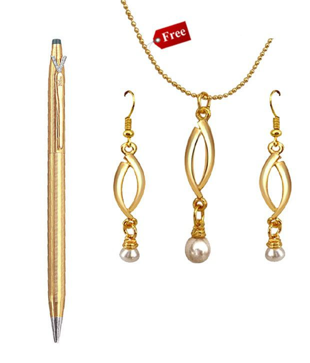 Surat Diamond Pen With Free Gold Plated Pendant Set