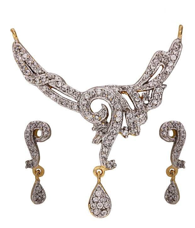 Vatika Charming American Diamond Mangalsutra Pendant Set