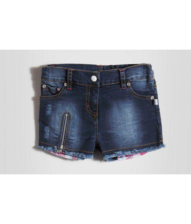 Barbie Blue Color Denim Checks Pocket Shorts For Kids