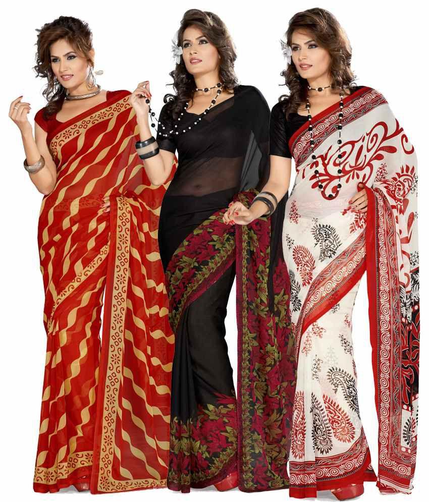 ISHIN Amazing Combo of  3 Georgette saree