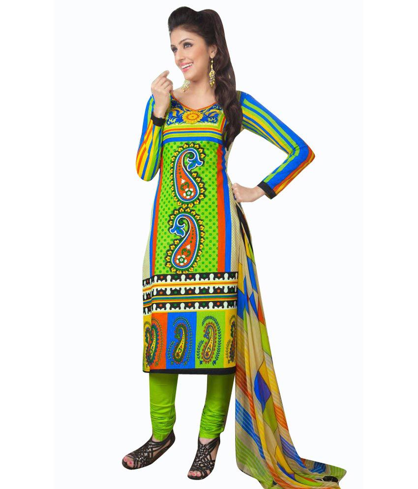 Looklady Light-Blue Pure Cotton Dress Material With Multi Color Cotton Dupatta