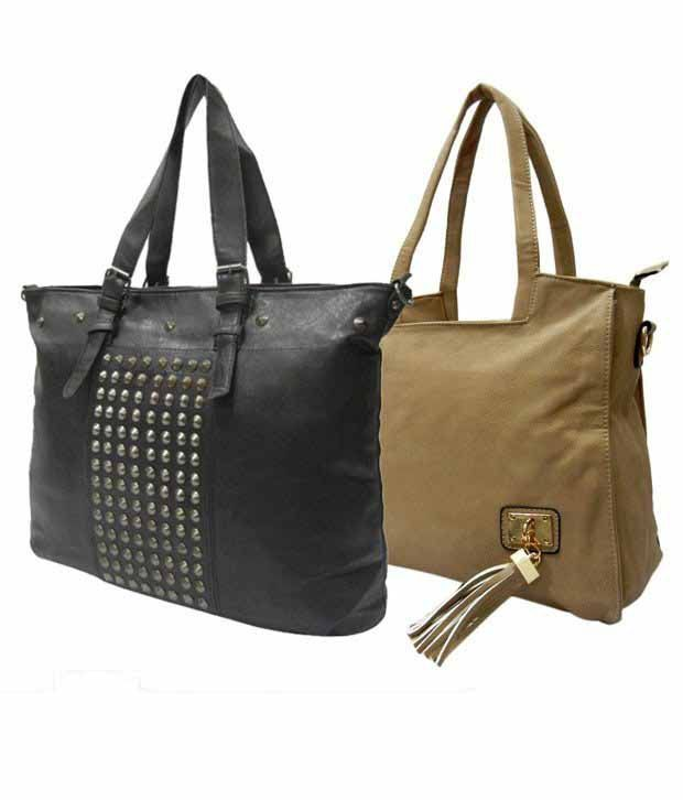 1 to All Bags Shiny Beige Black Bags Combo