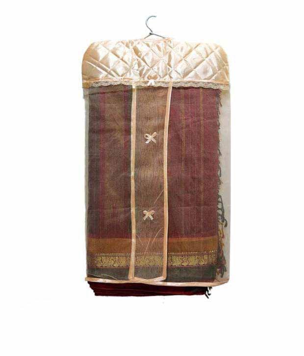 A-Maze Peach Satin Hanging Saree Cover - Set of 3 Pcs