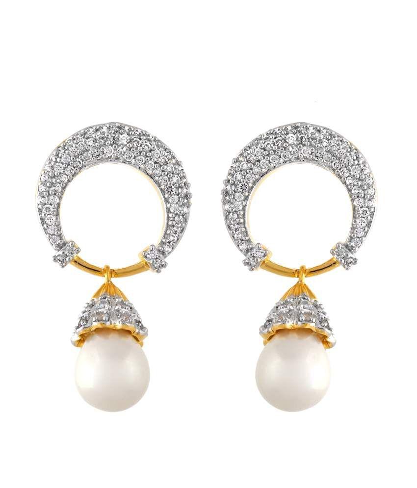 Alysa Pearl Drop CZ Moon Earrings
