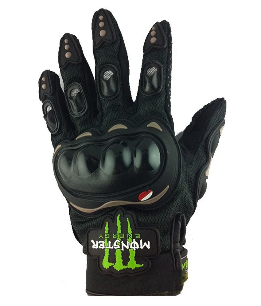 Motorcycle gloves online india - Monster Monster Energy Gloves With Finger And Knucle Protection Black Size Large