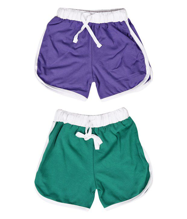 Robinbosky Comfy Purple and Green Combo of 2 Shorts For Kids