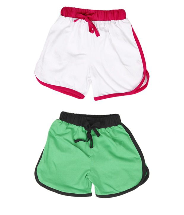Robinbosky Courteous White and Green Combo of 2 Shorts For Kids