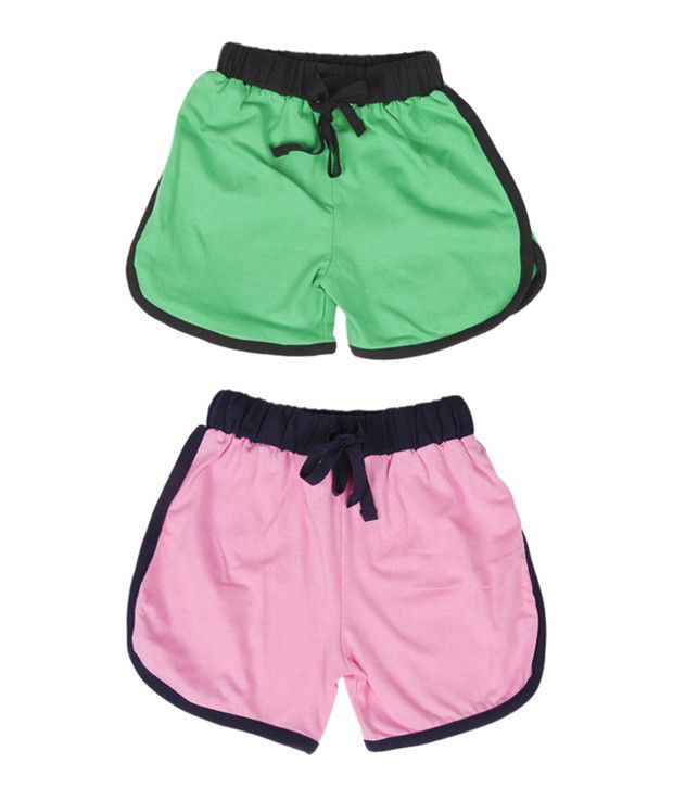 Robinbosky Exclusive Green and Light Pink Combo of 2 Shorts For Kids