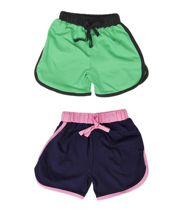 Robinbosky Smart Navy Blue and Green Combo of 2 Shorts For Kids