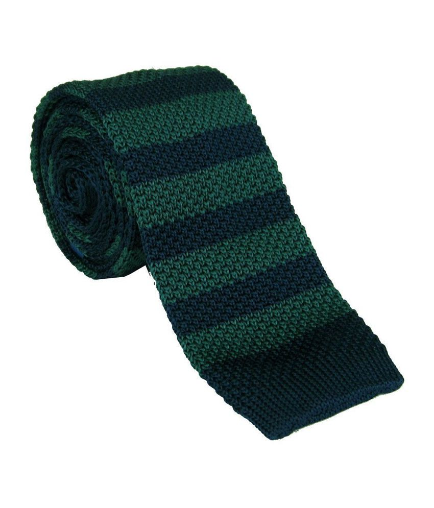 Civil Outfitters Green Navy Striped Knitted Tie with Key Chain Dairy With Freebie Card Holder And Keychain
