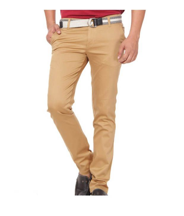 Harvest Cool Light Brown Stretchable Chinos with Free Earphones
