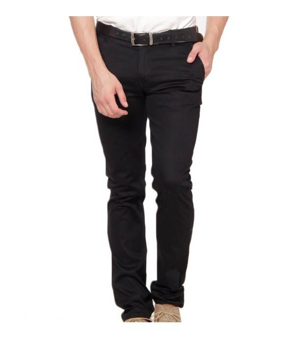 Harvest Fashionable Black Stretchable Chinos with Free Earphones