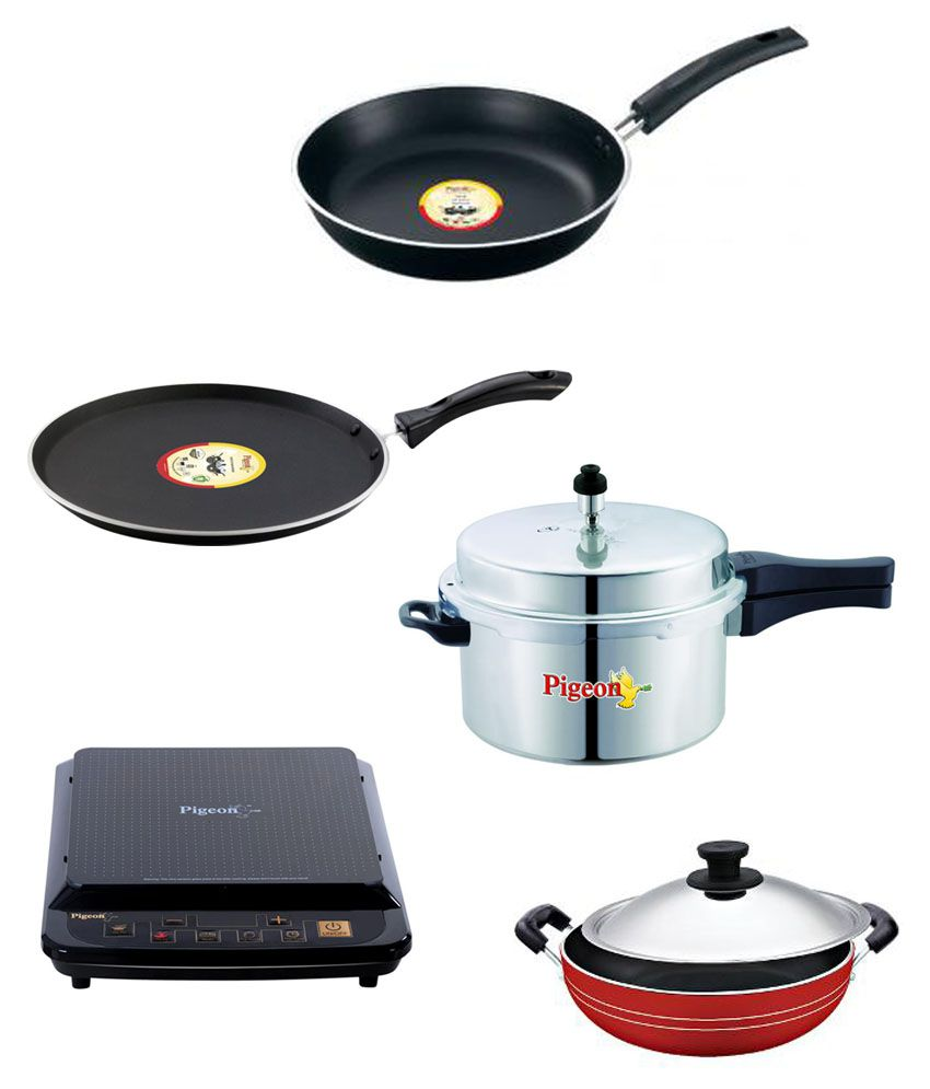 Pigeon Induction Cooker, Pressure Cooker And 3 Pcs Non-Stick ...