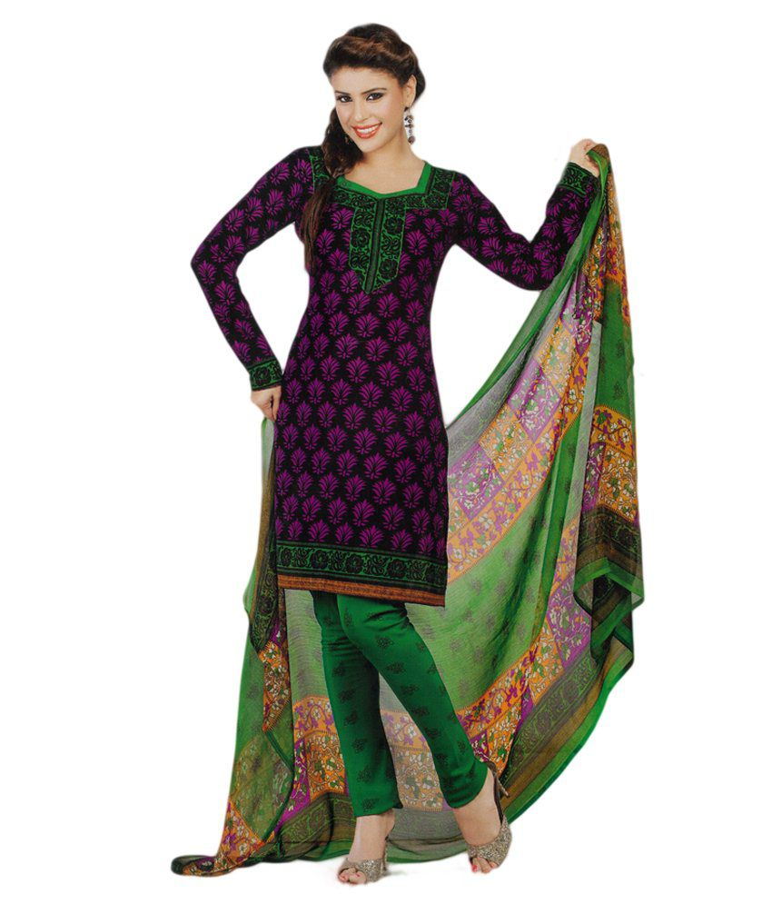 23ad0a6c1f Salwar Studio Magenta & Green Synthetic Printed Unstitched Churidar Kameez  With Dupatta - Buy Salwar Studio Magenta & Green Synthetic Printed  Unstitched ...