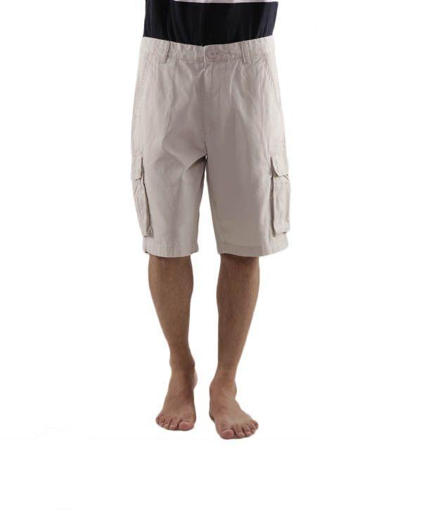 Wills Lifestyle Cream Bermuda Shorts