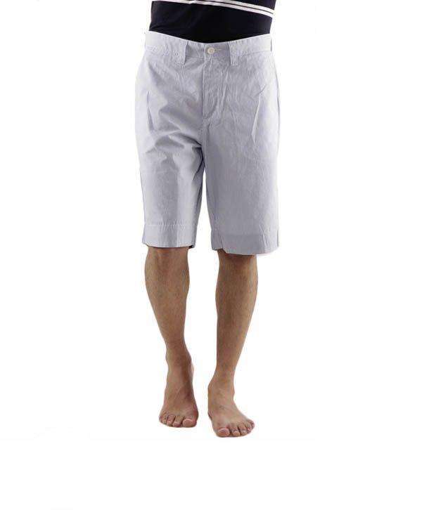 Wills Lifestyle Light Blue Striped Bermuda Shorts