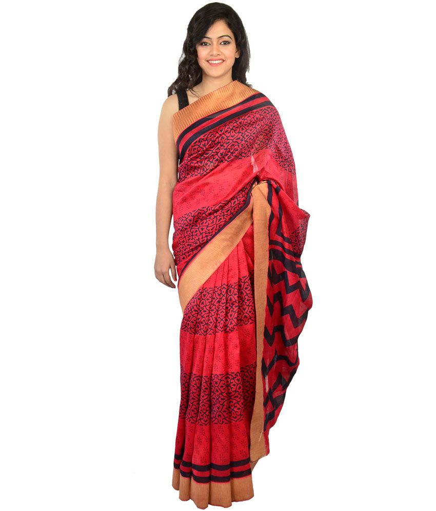 99Labels Red Black Cotton Saree