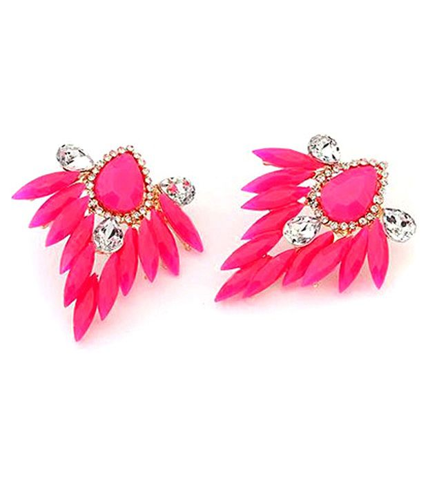 Cinderella Fashion Jewelry  Pink Coloured Ear Stud